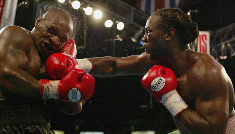 World Heavyweight title fight at Pyramid Arena Memphis. 8th round knockout by Lennox Lewis. June 9, 2002