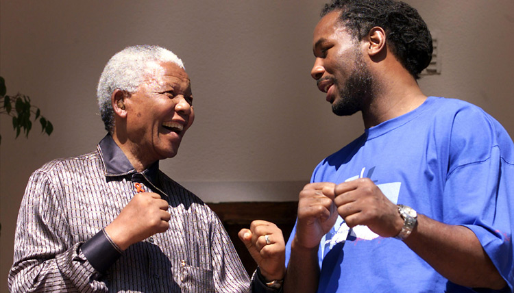 Nelson Mandela and Lennox Lewis in Johannesburg, April 23, 2001