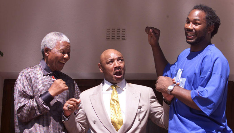 Nelson Mandela, Marvin Hagler and Lennox Lewis in Johannesburg, April 23, 2001